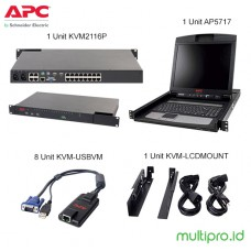 "APC2X1X16 IP KVM with APC 17"" Rack LCD and USB VM Server Module Bundle, KVM-BN001"