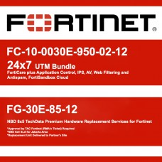 Fortigate FC-10-0030E-950-02-12 24x7 UTM Bundle & FG-30E-85-12 NBD 8x5 Premium Hardware Replacement Services for Fortinet
