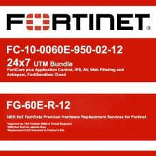 Fortigate FC-10-0060E-950-02-12 24x7 UTM Bundle & FG-60E-R-12 NBD 8x5 Premium Hardware Replacement Services for Fortinet