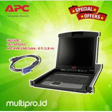 "APC 17"" Rack LCD Console with Integrated 16 Port Analog KVM Switch, AP5816 + AP5253 APC KVM USB cable (16 piece)"