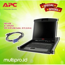 "APC 17"" Rack LCD Console with Integrated 8 Port Analog KVM Switch, AP5808 + AP5253 APC KVM USB cable (8 piece)"
