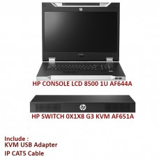 HP SWITCH 0X1X8 G3 KVM CONSOLE SWITCH ( AF651A ) + LCD AF644A + Adapter + Connector